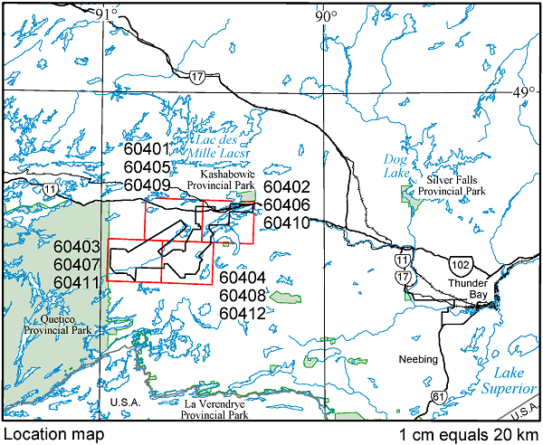Map of the Burchell Lake area showing the outlines of maps in the survey area