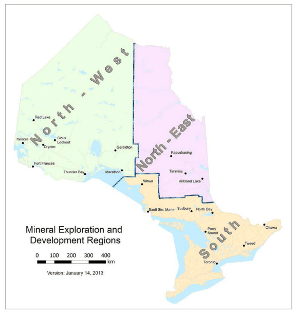 Map of Mineral Exploration and Development Office Regions